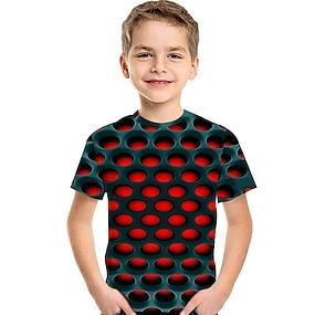 billige Gutteklær-Barn Baby Gutt T skjorte T-skjorte Kortermet Trykt mønster 3D Print Fargeblokk Geometrisk Trykt mønster Blå Rød Fuksia Barn Topper Sommer Aktiv Grunnleggende Gatemote