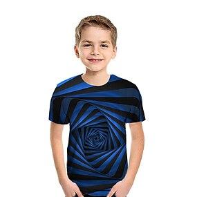 cheap Boys' Clothing-Kids Boys' T shirt Tee Short Sleeve Patchwork Geometric 3D Print Rainbow Children Tops Summer Active Streetwear New Year