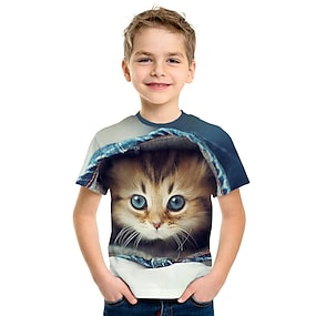 cheap Boys' Clothing-Kids Boys' T shirt Tee Short Sleeve Cat 3D Animal Print Rainbow Children Tops Summer Active Streetwear Cute