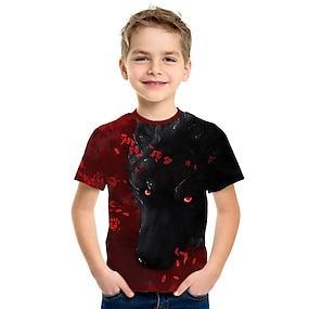 cheap Boys' Clothing-Kids Boys' T shirt Tee Short Sleeve 3D Animal Print Red Children Tops Summer Active Streetwear