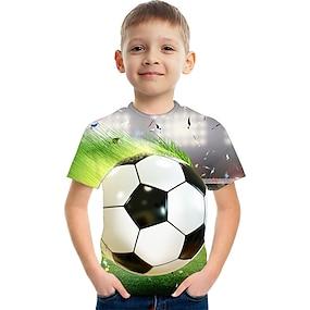 cheap Boys' Clothing-Kids Boys' T shirt Tee Short Sleeve Anime Color Block 3D Print White Children Tops Summer Basic Fashion Streetwear Children's Day