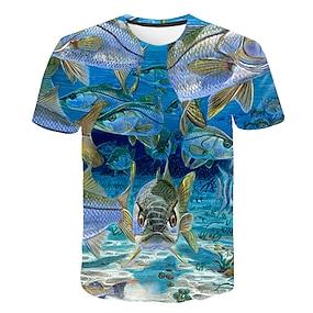 cheap Boys' Clothing-Kids Boys' T shirt Tee Short Sleeve Color Block 3D Animal Print Rainbow Children Tops Basic Streetwear