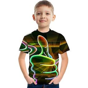 abordables Ropa de niños-Niños Chico Camiseta Manga Corta de impresión en 3D Bloques 3D Unisexo Estampado Blanco Rojo Naranja Niños Tops Verano Básico Casual Chic de Calle Día del Niño 2-12 años