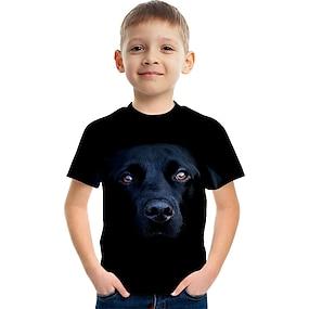cheap Boys' Clothing-Kids Boys' T shirt Tee Short Sleeve Dog Color Block 3D Animal Print Black Children Tops Summer Basic Streetwear