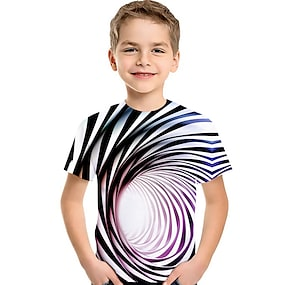 cheap Boys' Clothing-Kids Toddler Boys' T shirt Tee Short Sleeve Blue & White Striped Optical Illusion Color Block Geometric Print Purple Red Green Children Tops Summer Active Basic Streetwear Children's Day