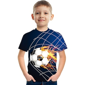 cheap Boys' Clothing-Kids Boys' T shirt Tee Short Sleeve Color Block 3D Football Unisex Print Rainbow Children Tops Summer Active Streetwear Cute Children's Day 3-12 Years