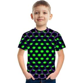 cheap Boys' Clothing-Kids Boys' T shirt Tee Short Sleeve Polka Dot Color Block 3D Print Green Children Tops Summer Basic Streetwear