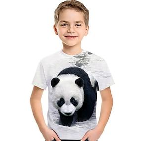 cheap Boys' Clothing-Kids Toddler Boys' T shirt Tee Short Sleeve Cat Panda Fantastic Beasts Color Block 3D Animal Print White Children Tops Summer Active Basic Cute Children's Day