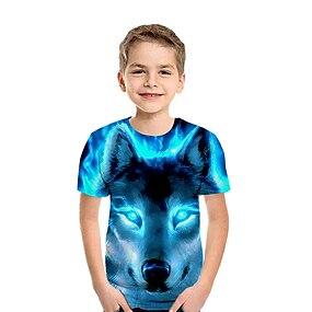 cheap Boys' Clothing-Kids Boys' T shirt Tee Short Sleeve 3D Animal Rainbow Children Tops Summer Basic
