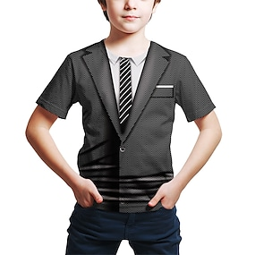 cheap Boys' Clothing-Kids Boys' T shirt Tee Short Sleeve 3D Print Black Children Tops Summer Active Basic