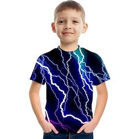 cheap Boys' Clothing-Kids Boys' T shirt Tee Short Sleeve Color Block 3D Print Blue Children Tops Summer Active Streetwear Children's Day