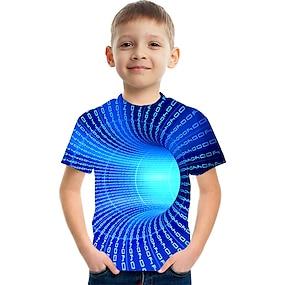 cheap Boys' Clothing-Kids Boys' T shirt Tee Short Sleeve Color Block 3D Print Rainbow Children Tops Summer Active Streetwear Children's Day
