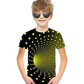 cheap Boys' Clothing-Kids Toddler Boys' T shirt Tee Short Sleeve Optical Illusion Color Block Geometric 3D Print Blue Purple Red Children Tops Summer Active Basic Streetwear Christmas