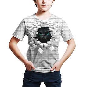 cheap Boys' Clothing-Kids Toddler Boys' T shirt Tee Short Sleeve Cat Geometric 3D Animal Print White Children Tops Summer Active Streetwear Cute Children's Day