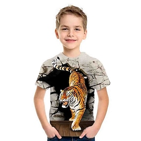 cheap Boys' Clothing-Kids Boys' T shirt Tee Short Sleeve Tiger Animal Print Gray Children Tops Summer Basic Holiday