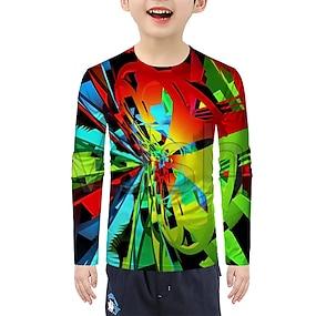 cheap Boys' Clothing-Kids Boys' T shirt Tee Long Sleeve 3D Children Halloween Tops Active Rainbow