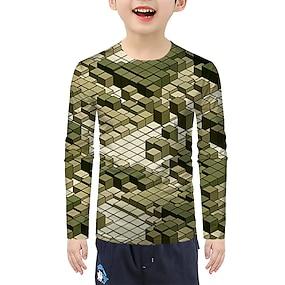 cheap Boys' Clothing-Kids Boys' T shirt Tee Long Sleeve 3D Green Children Tops Active Halloween