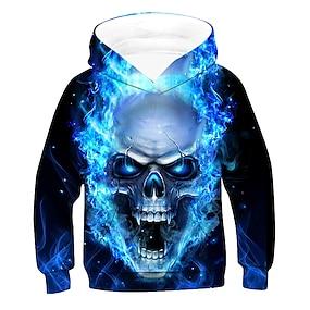 cheap Boys' Clothing-Kids Boys' Hoodie & Sweatshirt Long Sleeve Black 3D Print Skull Pocket Blue Children Tops Active Basic Cool Children's Day 2-12 Years
