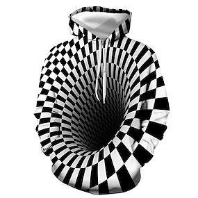 cheap Men's Hoodies-Men's Pullover Hoodie Sweatshirt Graphic 3D Daily Going out 3D Print Basic Casual Hoodies Sweatshirts  Black white White Black