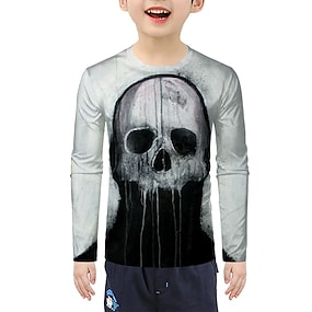 cheap Boys' Clothing-Kids Boys' T shirt Tee Long Sleeve 3D Black Children Tops Active Halloween