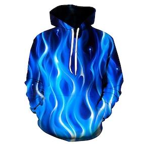 cheap Men's Hoodies-Men's Pullover Hoodie Sweatshirt Graphic Flame Club Weekend 3D Print Party Casual Hoodies Sweatshirts  Blue Fuchsia Orange