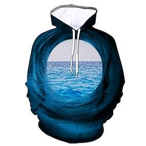 cheap Men's Hoodies-Men's Pullover Hoodie Sweatshirt Graphic Daily Going out 3D Print Casual Hoodies Sweatshirts  Blue Purple Grey