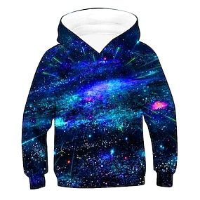 cheap Boys' Clothing-Kids Boys' Hoodie & Sweatshirt Pullover Long Sleeve 3D Print Galaxy With Pockets Unisex Purple Red Army Green Children Tops Active Basic Children's Day 2-12 Years