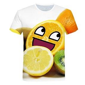 cheap Boys' Clothing-Kids Boys' T shirt Tee Short Sleeve Graphic 3D Fruit Print Yellow Children Tops Summer Active Children's Day