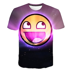 cheap Boys' Clothing-Kids Boys' T shirt Tee Short Sleeve Graphic Color Block 3D Print Purple Children Tops Summer Active Children's Day