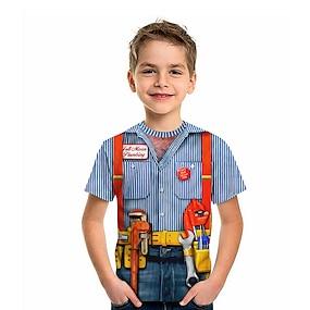 cheap Boys' Clothing-Kids Boys' T shirt Tee Short Sleeve Striped Graphic 3D Print Blue Children Tops Summer Active