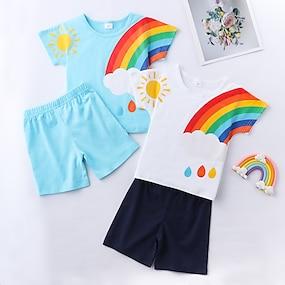 cheap Clothing Sets-Kids Boys' T-shirt & Shorts Clothing Set Short Sleeve White Blue Rainbow Graphic Print Daily Wear Casual / Daily Active Basic Regular
