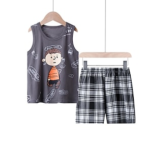 cheap Clothing Sets-Kids Boys' Tank & Shorts Clothing Set 2 Piece Sleeveless Light Brown Gray Cartoon Print Causal Basic Short 3-10 Years