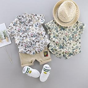 cheap Clothing Sets-Toddler Boys' Shirt & Shorts Clothing Set 2 Piece Short Sleeve White Green White Floral Print Patchwork Print Casual Holiday Basic Boho Regular Above Knee 1-4 Years