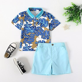 cheap Clothing Sets-Toddler Boys' Polo Shirt & Shorts Clothing Set Tropical Leaf Blue Solid Colored Short Sleeve 2 Piece Print Festival Light Blue Basic Short Above Knee Short 1-5 Years