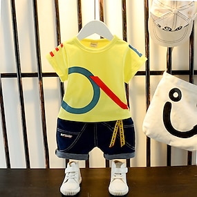 cheap Boys' Clothing-Toddler Boys' T-shirt & Shorts Clothing Set 2 Piece Short Sleeve White Yellow White Graphic Letter Print Street Casual Basic Regular Above Knee 1-4 Years