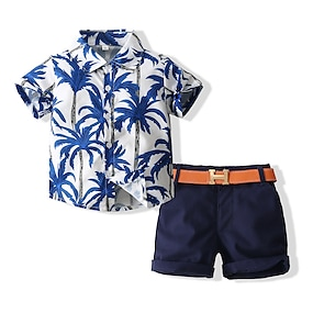 cheap Clothing Sets-Kids Boys' Shirt & Shorts Clothing Set Tropical Leaf Graphic Short Sleeve 2 Piece Bow Print Casual / Daily Blue Basic Regular Above Knee Short 1-5 Years