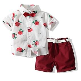 cheap Clothing Sets-Kids Boys' Shirt & Shorts Clothing Set Short Sleeve White Rose Floral Print Casual / Daily Festival Basic Regular 2-8 Years