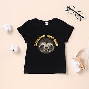 cheap Boys' Clothing-Kids Boys' T shirt Tee Short Sleeve Graphic Black Children Tops Summer Basic Daily Wear