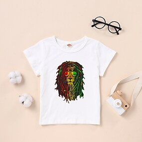 cheap Boys' Clothing-Kids Boys' T shirt Tee Short Sleeve Graphic White Black Children Tops Summer Basic Daily Wear