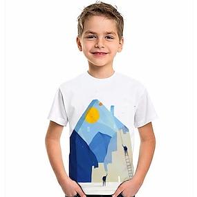 billige Gutteklær-Barn Gutt T skjorte Kortermet 3D-utskrift Grafisk Hvit Barn Topper Sommer Aktiv Dagligdagstøy Normal 4-12 år