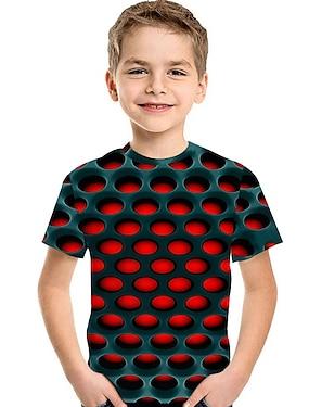 cheap Tops-Kids Toddler Boys' T shirt Tee Short Sleeve Print Optical Illusion Color Block Geometric Print Blue Red Fuchsia Children Tops Summer Active Basic Streetwear