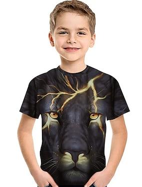 cheap Tops-Kids Toddler Boys' T shirt Tee Short Sleeve Lion Print 3D Animal Print Black Children Tops Summer Active Basic