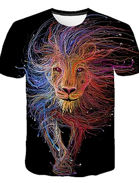 cheap Tops-Kids Boys' T shirt Tee Short Sleeve Lion Rainbow Color Block 3D Print Rainbow Children Tops Summer Basic Streetwear