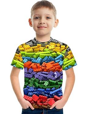 cheap Tops-Kids Boys' T shirt Tee Short Sleeve Rainbow Optical Illusion Color Block 3D Print Red Green Royal Blue Children Tops Summer Basic Streetwear Sports