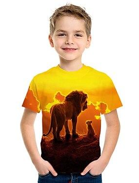cheap Tops-Kids Boys' T shirt Tee Short Sleeve Lion 3D Animal Print Yellow Children Tops Summer Active Streetwear