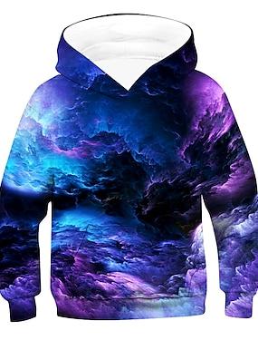 cheap Tops-Kids Boys' Hoodie & Sweatshirt Pullover Long Sleeve 3D Print Galaxy sky Tie Dye Unisex Purple Red Green Children Tops Active Basic Causal 2-12 Years