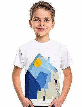cheap Tops-Kids Boys' T shirt Short Sleeve 3D Print Graphic White Children Tops Summer Active Daily Wear Regular Fit 4-12 Years