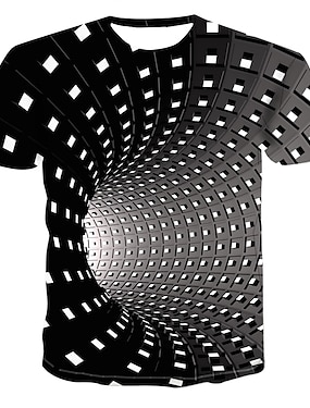 cheap Tops-Kids Boys' T shirt Tee Short Sleeve Graphic Optical Illusion White Blue Purple Children Tops Summer Streetwear Punk & Gothic Sports Daily Children's Day 3-12 Years