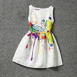 cheap Dresses-Kids Little Girls' Dress Print White Sleeveless Floral Dresses Summer