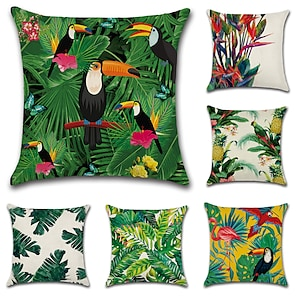 cheap Cushion Covers-Set of 6 Cotton / Linen Pillow Cover, Botanical European Throw Pillow Outdoor Cushion for Sofa Couch Bed Chair